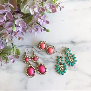 3 Beautiful Earrings ! Magenta + Turquoise + Coral